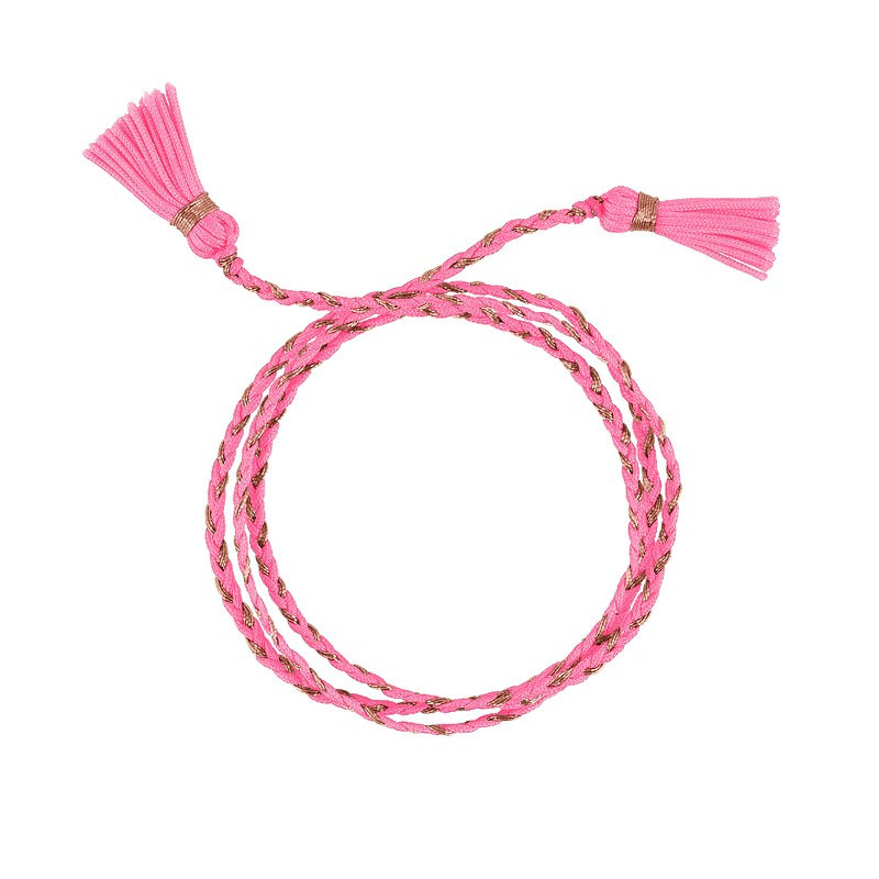 CANDY PINK TRIPLE BRAIDED TIE BRACELET WITH POMPOMS
