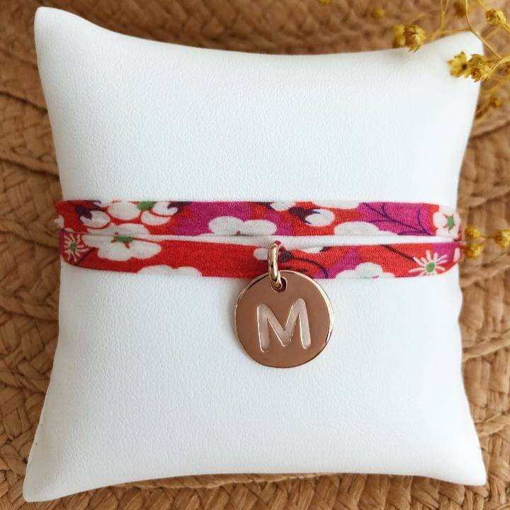 Liberty bracelet with rose gold-plated perforated initial medal for children