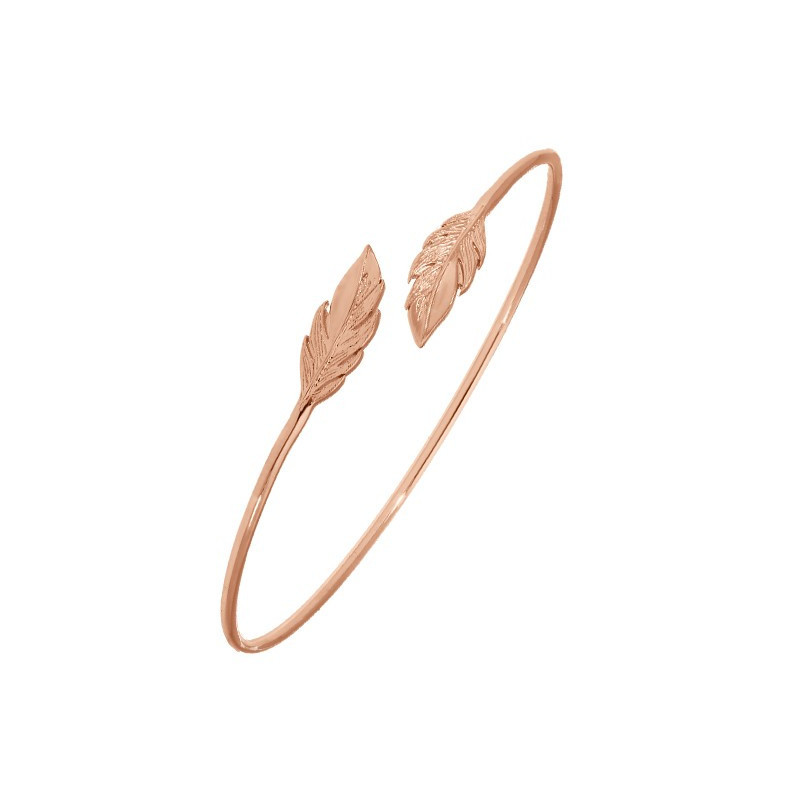 Open bangle bracelet with double feather