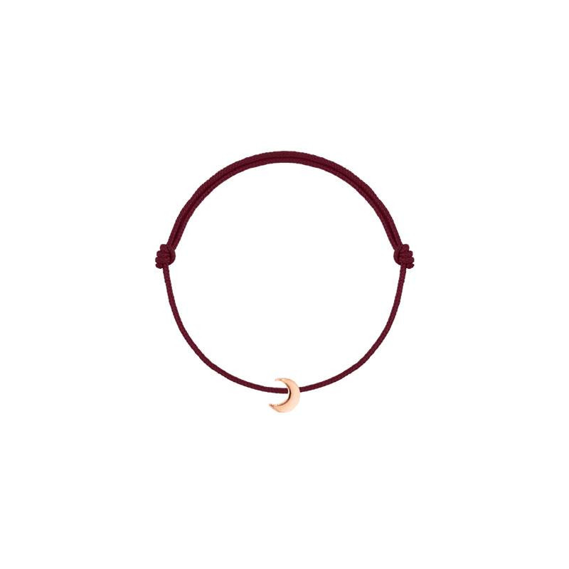 Tie bracelet with rose gold-plated little moon for children.
