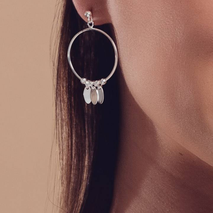 Small 925 silver hoop earrings with petals
