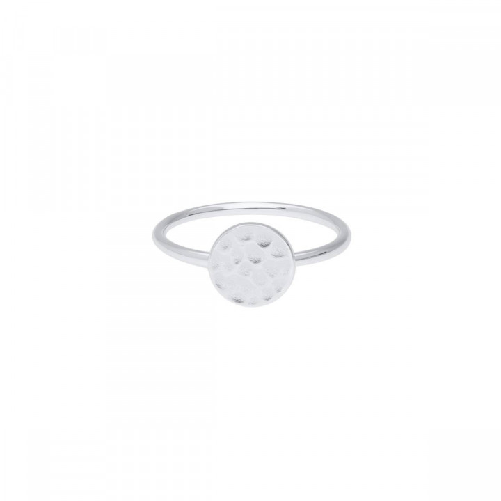 925 Silver hammered medal ring