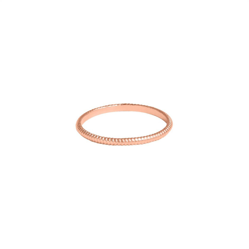 Rose gold-plated striated band ring