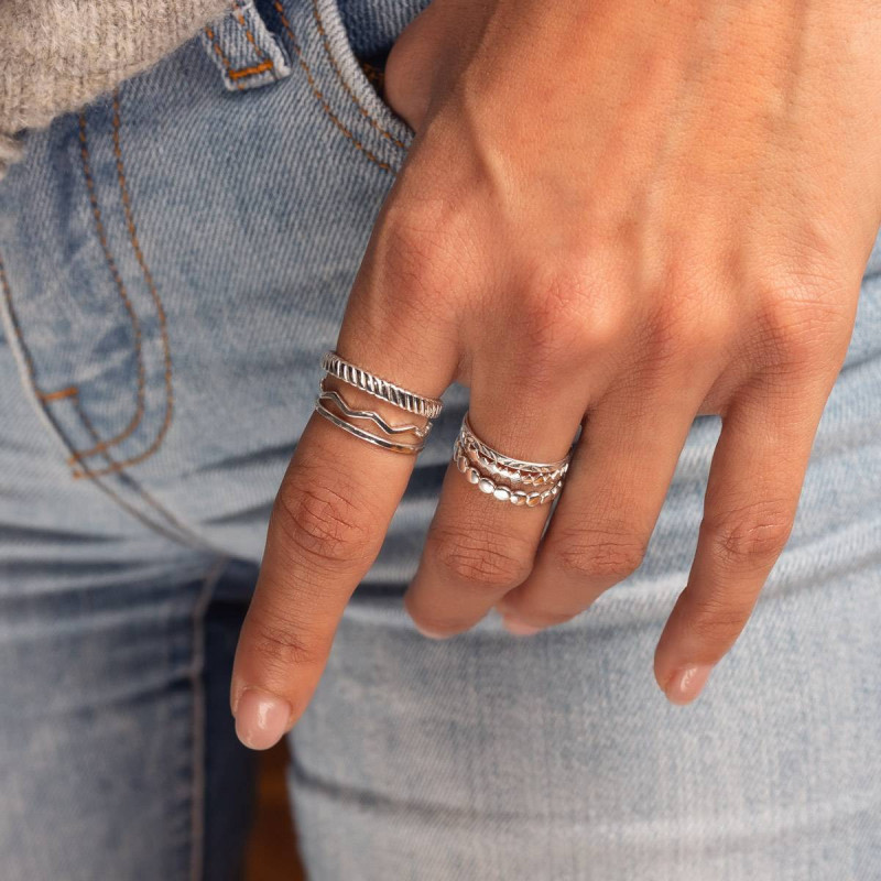 925 silver chiseled band ring