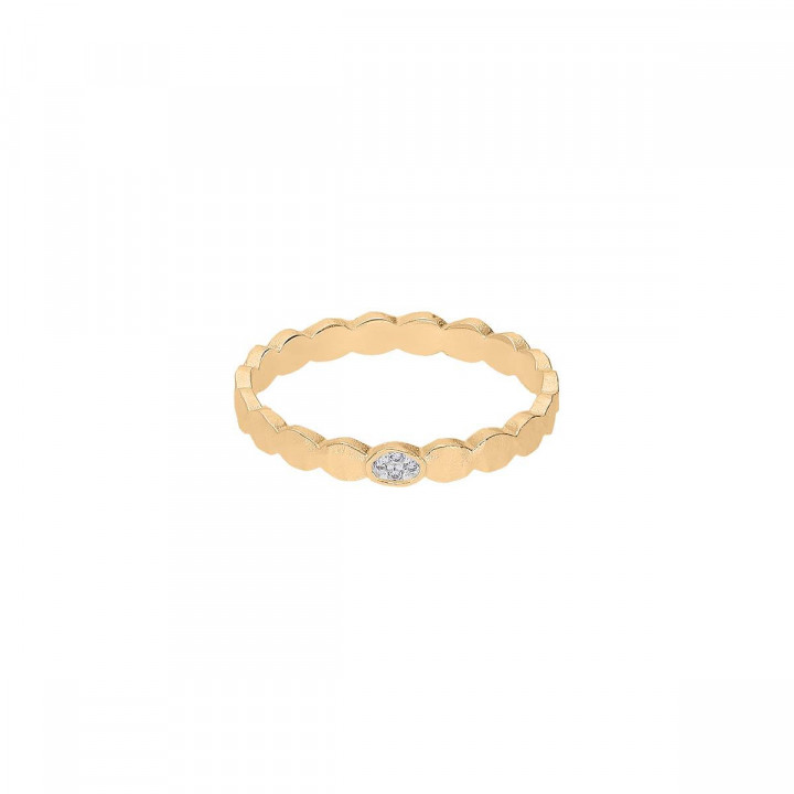 Wavy hammered gold-plated zircon ring