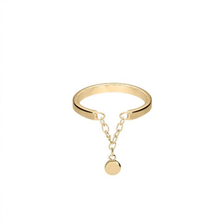 Gold-plated ring with a small medal