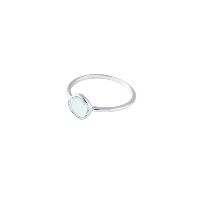 Small trapeze 925 silver gemstone ring