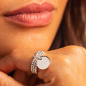 925 Silver three-row beaded ring with small thick medal