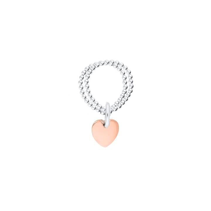 Rose gold-plated heart medal on double beaded ring