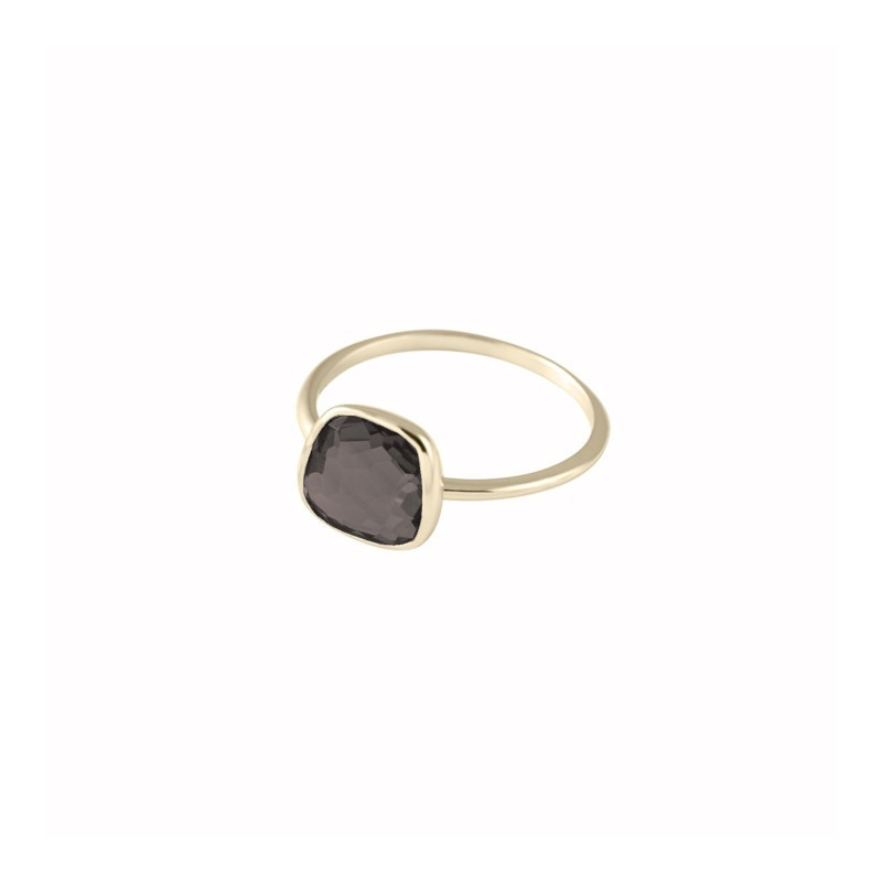 Mediutrapeze gemstone smoked quartz ring