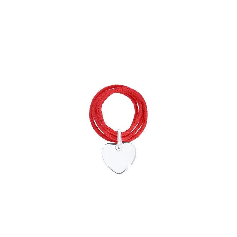 Multiple string ring with small heart medal for children