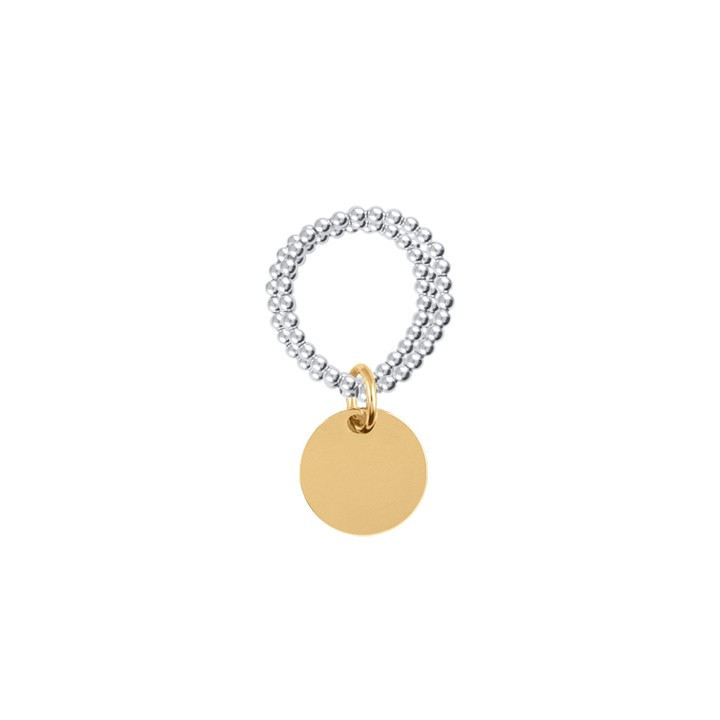 Beads and medal triple row ring