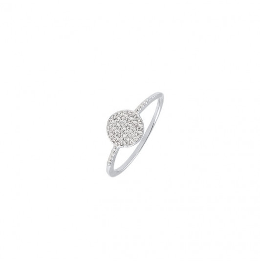 Silver ring with zircon tablet