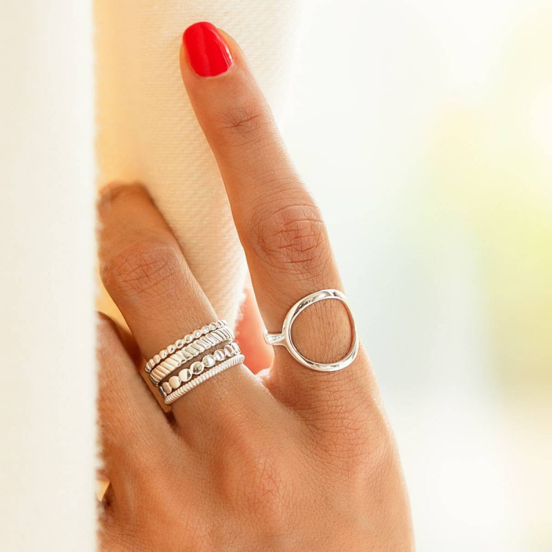 925 Silver striated ring