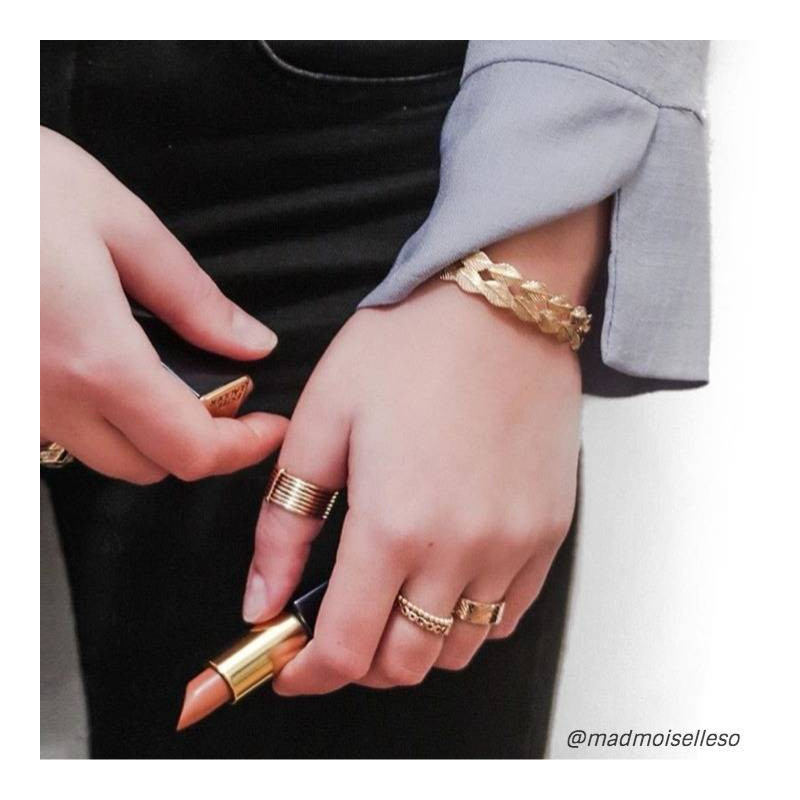 Gold-plated eight bands ring