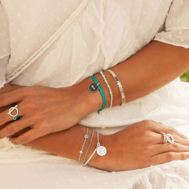 925 Silver T toggle multiple string ring