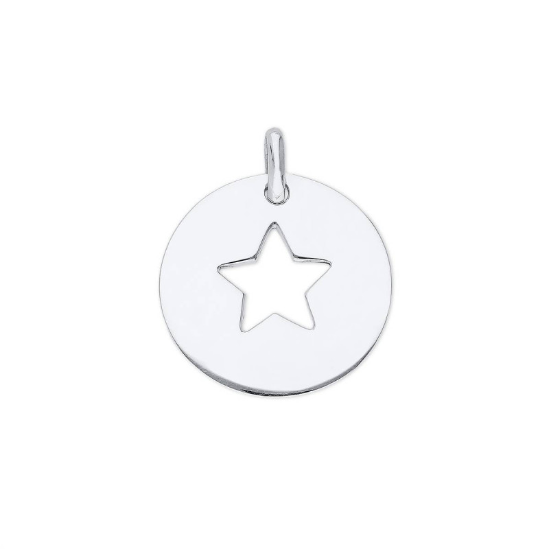 925 Silver large perforated star medal