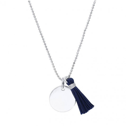 Chain necklace with medal and pompom