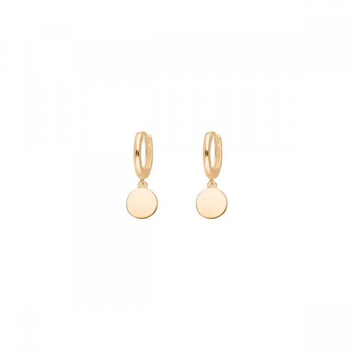 Gold-plated hoop earrings with medal