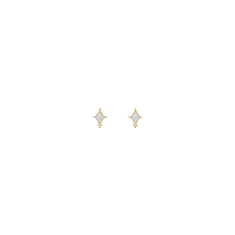 Gold-plated lozenge & nacre stud earrings
