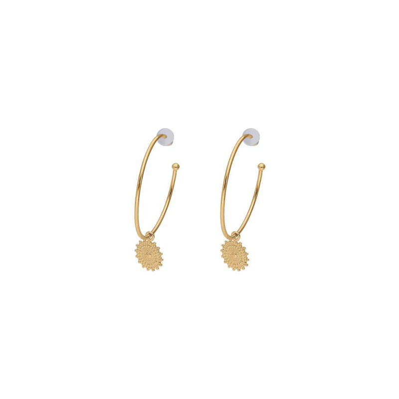 Gold-plated Sun hoop earrings