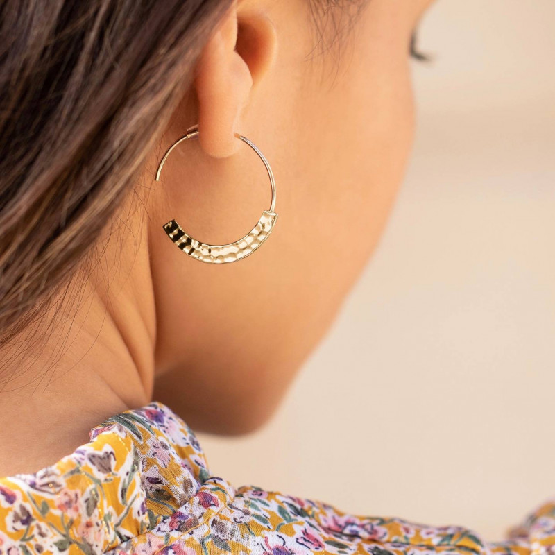 Gold-plated large hammered hoop earrings