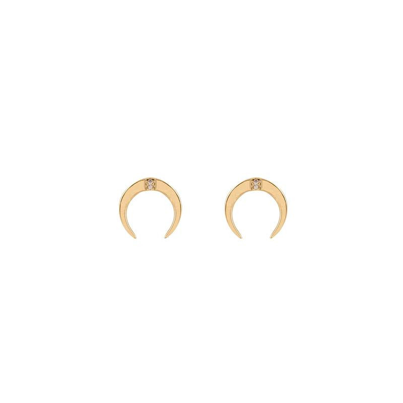 Horn earrings with zircons