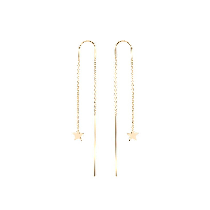 Rod and chain earrings with star