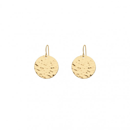 Earrings with hammered medal