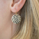 Gold-plated earrings with hammered medal