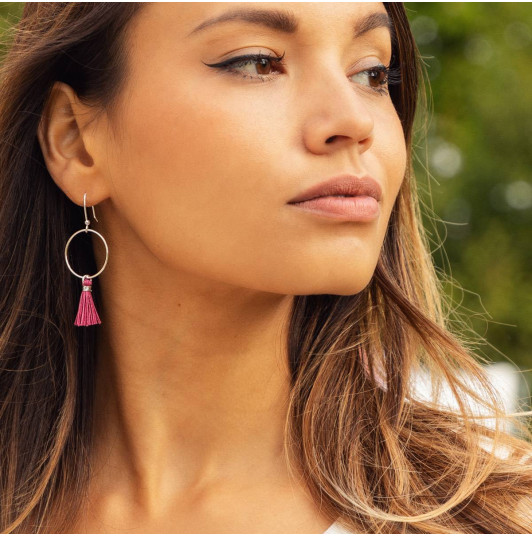 French hook circle earrings with pompom