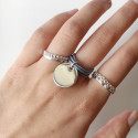 925 silver multiple string ring with medal