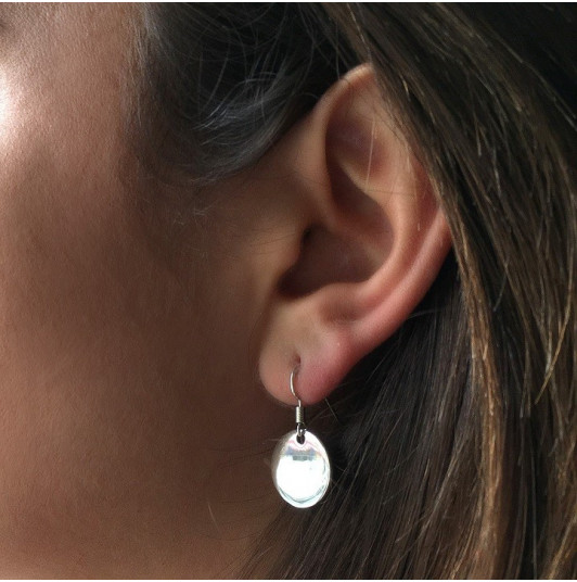 Earrings with hanging medal