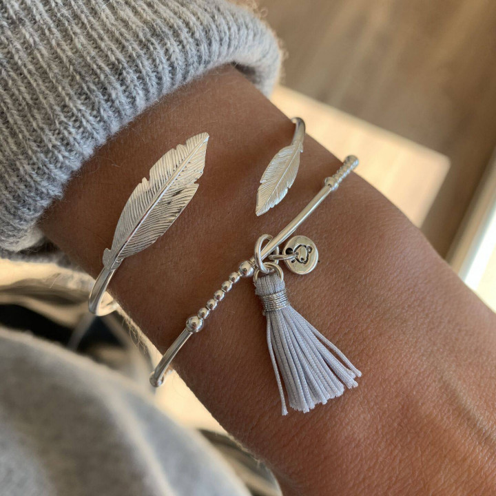 925 Silver 2mm beads and tubes bracelet with pompom