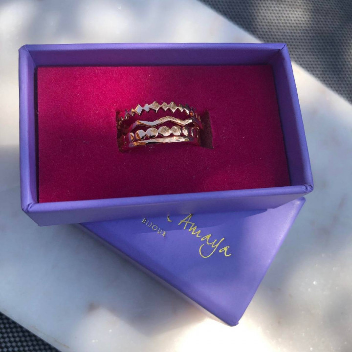 Gold-plated zig zag ring